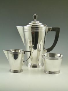 MAPPIN & WEBB Silver Plate - ATHENIAN Pattern - 3 Piece Coffee Set