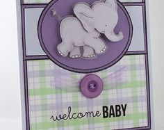 New Baby Handmade Card / Welcome Baby Card / Elephant Baby Card / Lilac, Green
