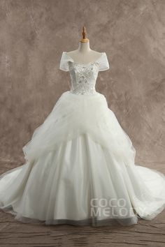 Chic Ball Gown Ball Gown Off the shoulder Basque Train Tulle Ivory Sleeveless Lace-up Corset Wedding Dress with Beading JWJF14005