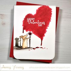 Valentine Day Cards, Happy Valentines Day, Anita Jeram, Paint Drop, My Stamp, Cute Cards, Clear Stamps, I Card, Paper Art