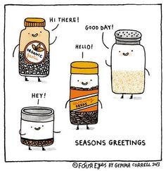 Seasons Greetings! Cute holiday comic for foodies.