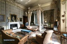 Tapestry Bedroom. Belvoir Castle. The Bed was made for the film 'Victoria'.