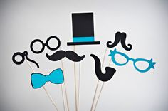 Photobooth prop ideas. I think the pipe and the monocle are really cute.