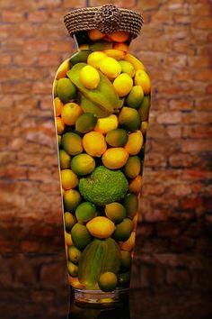 Sarabella Tuscan Art, Bellissimo Jar with Lemons Limes and Star fruit