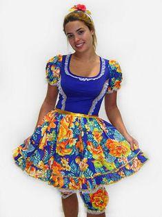 vestido festa junina azul