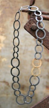 Atelier Femke Boschker necklace, oxidized silver, 14 ct yellow gold