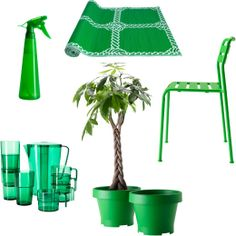 Collage of spray bottle, rug, chair, glasses, jug and plant pots, all in green - Ikea