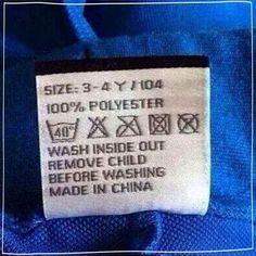Remove child before washing.