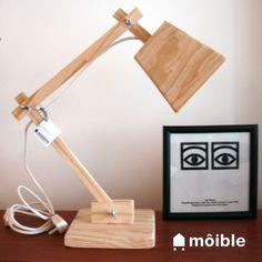 lampara de mesa   escritorio   velador   mesa de luz brazo articulado dimensiones: 45x45cm, base 15x15 material: madera natural piezas de ajuste nique...