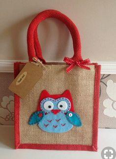 Items similar to Owl gift, felt motif jute bag. lunch bag/gift bag/teacher present/thankyou on Etsy - Jute bag - Requisit Hessian Bags, Jute Tote Bags, Diy Tote Bag, Reusable Tote Bags, Sensory Blanket, Presents For Teachers, Diy Handbag, Handmade Handbags, Bag Patterns To Sew