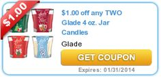 $1.00 off any TWO Glade 4 oz. Jar Candles exp 1/31/14