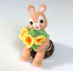 needle felted rabbit, vintage toy, Miniature Animal, Needle felting Bunny…