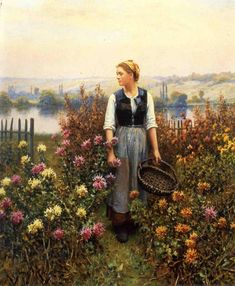 The Athenaeum - Girl with a Basket in a Garden (Daniel Ridgway Knight - )
