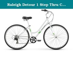 "Raleigh Detour 1 Step Thru Comfort Bike, 19"" /Lg Frame, White, 19"" / Large. Are you ready to paint the town but still crave the comfort of a cruiser casual city riding meets serious comfort in the entry-level detour 1 step thru hybrid bike. Whether you're riding round trip to the office, meeting friends for lunch, or grabbing a few groceries on the way home, the detour 1 step thru will get you there quickly and comfortably. Prizing comfort with a focus on function, the detour 1 step thru..."