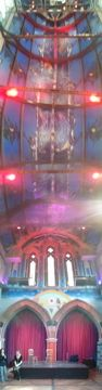 Panorama of the stage and ceiling of the Oran Mor auditorium.