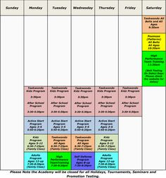 The new schedule is out! After school program is in full effect and bootcamps are awesome! Taekwondo, After School, Martial Arts, Schedule, Periodic Table, Bootcamps, Times, Awesome, Timeline