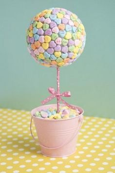Candy Heart Topiary Centerpiece - Valentine's Day Party Crafts via FunHolidayCrafts