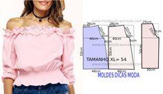 Tenha em atenção que o desenho do molde de blusa rosa feminina não tem valor de costura tem que ser acrescentado. Apenas os moldes que são para imprimir...