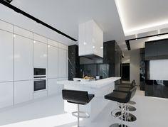 geometrixdesign | Interiors White Apartment, Interior Architecture, Interior Design, Kitchen Designs, Timeless Fashion, Futuristic, Kitchen Dining, Tiles, Sweet Home