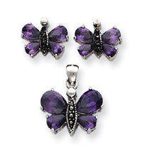 Sterling Silver Marcasite Purple CZ Earrings Pendent Set - JewelryWeb JewelryWeb. $66.40. Save 50% Off!