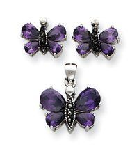 Sterling Silver Marcasite Purple CZ Earrings Pendent Set - JewelryWeb JewelryWeb. $66.40. Save 50%!