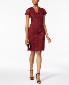 Ellen Tracy Petite Cap-Sleeved Lace Sheath Dress - Red 12P