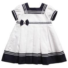 Girls White & Navy Blue Sailor Dress - Girl | Childrensalon