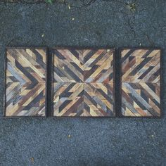 Rustic Wooden Triptych Art Design Made from Reclaimed Wood