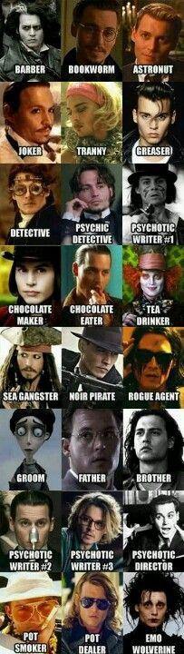 Many faces of johnny depp