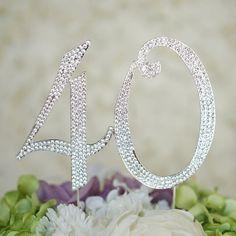 Number 40 Rhinestone Cake topper 40th Birthday by TopthatcakeNYC