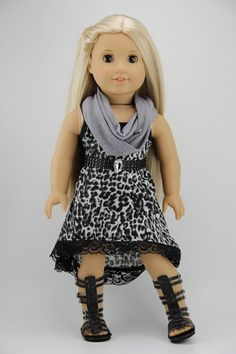 American Girl doll clothes - High low strappy dress with FREE infinity scarf…