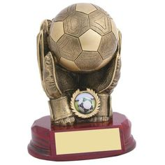 Resin Football Goalkeepers Glove and Ball Trophy-FREE ENGRAVING-TD83