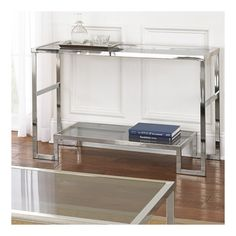 Cheap Contemporary Modern Chrome Metal and Glass Sofa Console Table – Narrow Side Table for Living Room – Hall Entryway Table – Hallway Furniture Hallway Furniture, Table Furniture, Living Room Furniture, Home Furniture, Glass Furniture, Furniture Outlet, Unique Furniture, Online Furniture, Garden Furniture
