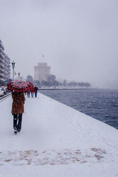 Winter Day, Winter White, Greek Beauty, Thessaloniki, Greece, Around The Worlds, Snow, City, Amazing