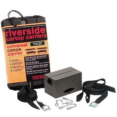 RIVERSIDE Universal Canoe Carrier Kit Fast economical and easy transport for all canoes and small craft.. Works with or without bar-system or factory roof racks.. 4-Extra tall non skid blocks.. 1-15' lash strap.. 2-18' bow and stern straps..  #Seattle_Sports #Sports