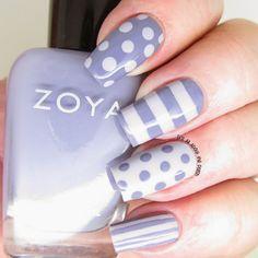 Zoya Megan and Caitlin - dots and stripes nails design. Striped Nail Designs, Nail Art Designs, Nails Design, The Art Of Nails, My Nails, Mani Pedi, Manicure, Gorgeous Nails, Beauty Nails