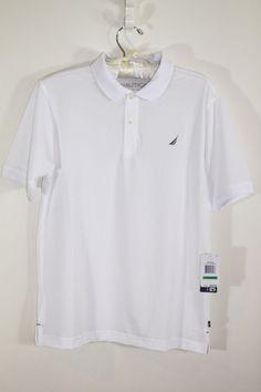 NAUTICA Performance Jersey Polo White BIG BOYS Teen Golf T Shirt 14/16 Large…