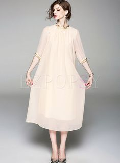 d63855e94e6d Apricot Solid Color Embroidered Stand Collar Shift Dress