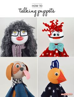 How to Make Talking Puppets - the best fun you'll ever have side-by-side crafting with your kids or class | MollyMoo #nosew #craftsforkids #kidscrafts