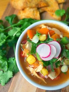 Mexican Chicken Posole Soup - fast and easy, perfect for summer veggies. #GlutenFree #Soup #mexican