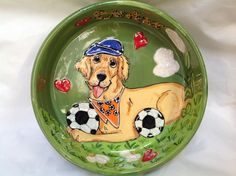 Dog Bowl / Hand Painted / Custom / Ceramic / Pottery / Golden Retriever / Trophy / Debby Carman Faux Paw Productions by FauxPawProductions on Etsy