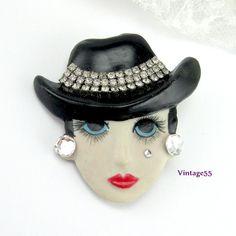 Brooch Lady Face Porcelain Rhinestone Designer Bauer