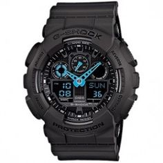 G-Shock digital chronograph watch is as tough as it looks with neon green hands for extra style. This all black G-Shock watch has a matte resin case and band with an extra large digital and analog display that is shock resistant, water re G Shock Watches Mens, G Shock Men, Sport Watches, Cool Watches, Watches For Men, Men's Watches, Jewelry Watches, Men's Jewelry, Rugged Watches