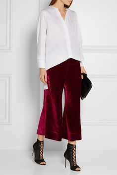 Merlot velvet Button and concealed zip at side 82% rayon, 18% silk Dry clean Designer color: Wine Imported