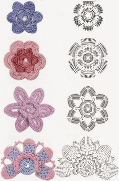 Tejido Facil: Patrones: nuevo set de flores 3