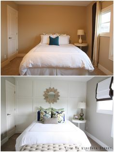 ACCENT WALL Board and Batten bedroom, before and after. Life On Virginia Street: Queen Guest Bedroom Reveal Home Staging, Diy Home Decor Rustic, Cheap Home Decor, Home Bedroom, Bedroom Decor, Small Master Bedroom, Bedroom Inspo, Bedroom Wall, Cookie Cutter House