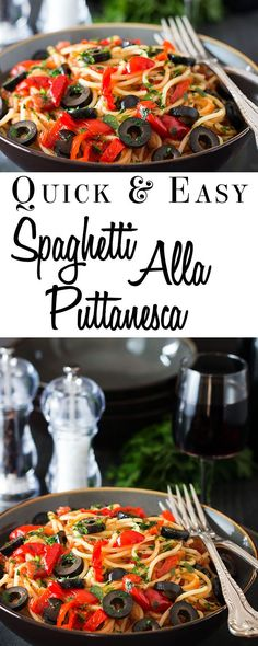 Spaghetti Alla Puttanesca - Erren's Kitchen - This recipe is a quick and easy pasta dish for all the family that uses items you can keep in your pantry so it's easily whipped up in a pinch.: