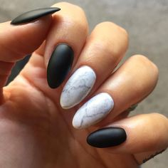 Grey and white marble nails with black matte. Popular nail trend for 2017 and 2018!
