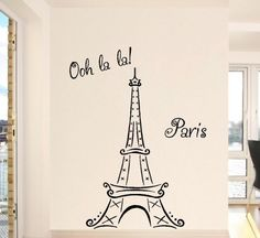 Eiffel Tower Ooh La La Paris vinyl lettering wall saying decal sticker decor kids room nursery Eiffel Tower wall decal. I want to get a small version tattooed someplace (without the words) Paris Rooms, Paris Bedroom, Bedroom Decor, Paris Decor, Paris Theme, Paris Party, Decoration Stickers, Dorm Decorations, Eiffel Tower Wall Decal