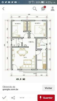 Make it a 1 bedroom cottage. Layouts Casa, House Layouts, Apartment Plans, Apartment Design, Small House Plans, House Floor Plans, 2 Bedroom House Plans, Architecture Plan, Bungalows